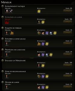 liste de tâche bas niveau pour le métier de meneur dans Neverwinter