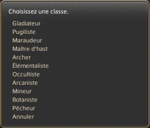 choix de classe