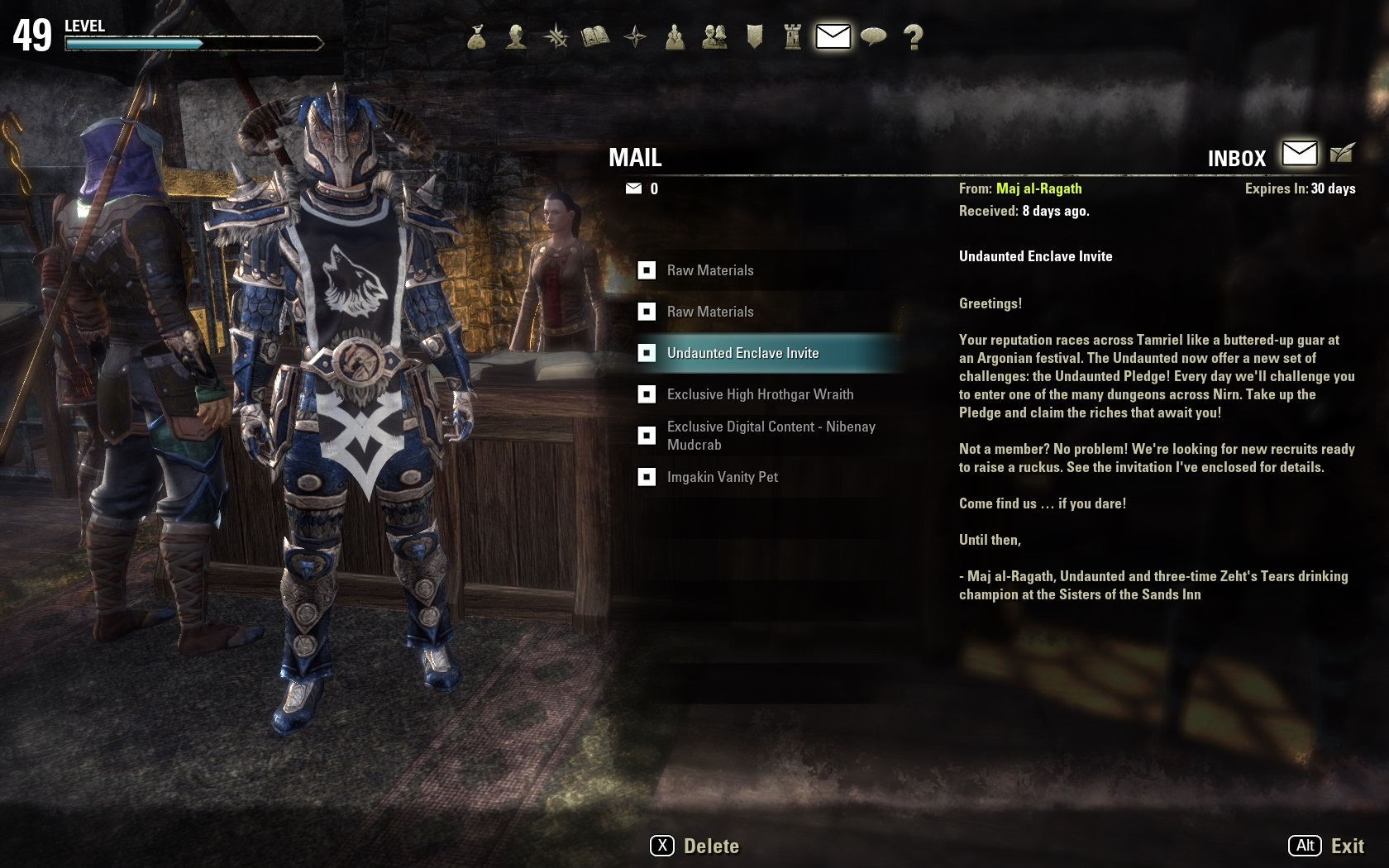 Build Teso Personnage