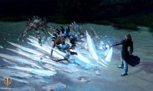 Cryomancer confronts the Death army on the Okki island