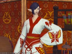 Yukata des papillons de damoiselle couleur albe