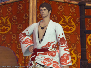 Yukata des feux de gentilhomme couleur albe
