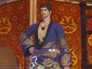 Yukata des feux de gentilhomme couleur indigo