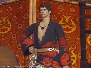 Yukata des feux de gentilhomme couleur jais