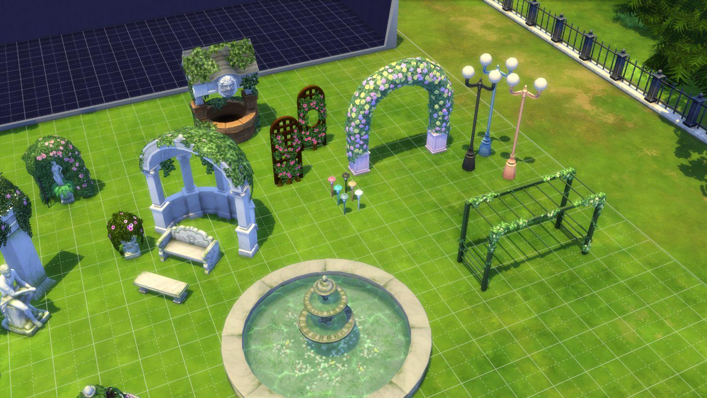 Les sims 4 aper u des nouveaux objets du kit jardin for Exterieur sims 4