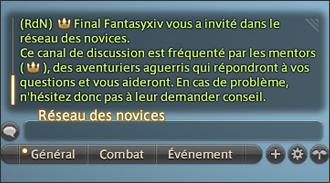 FFXIV - Mise à jour 3.25 - Système - Message nouveau joueur réseau des novices