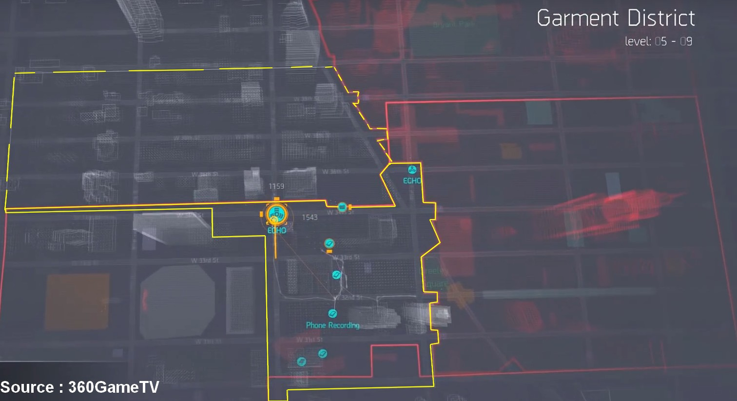 The Division - Garment District - Carte Intel 360GameTV