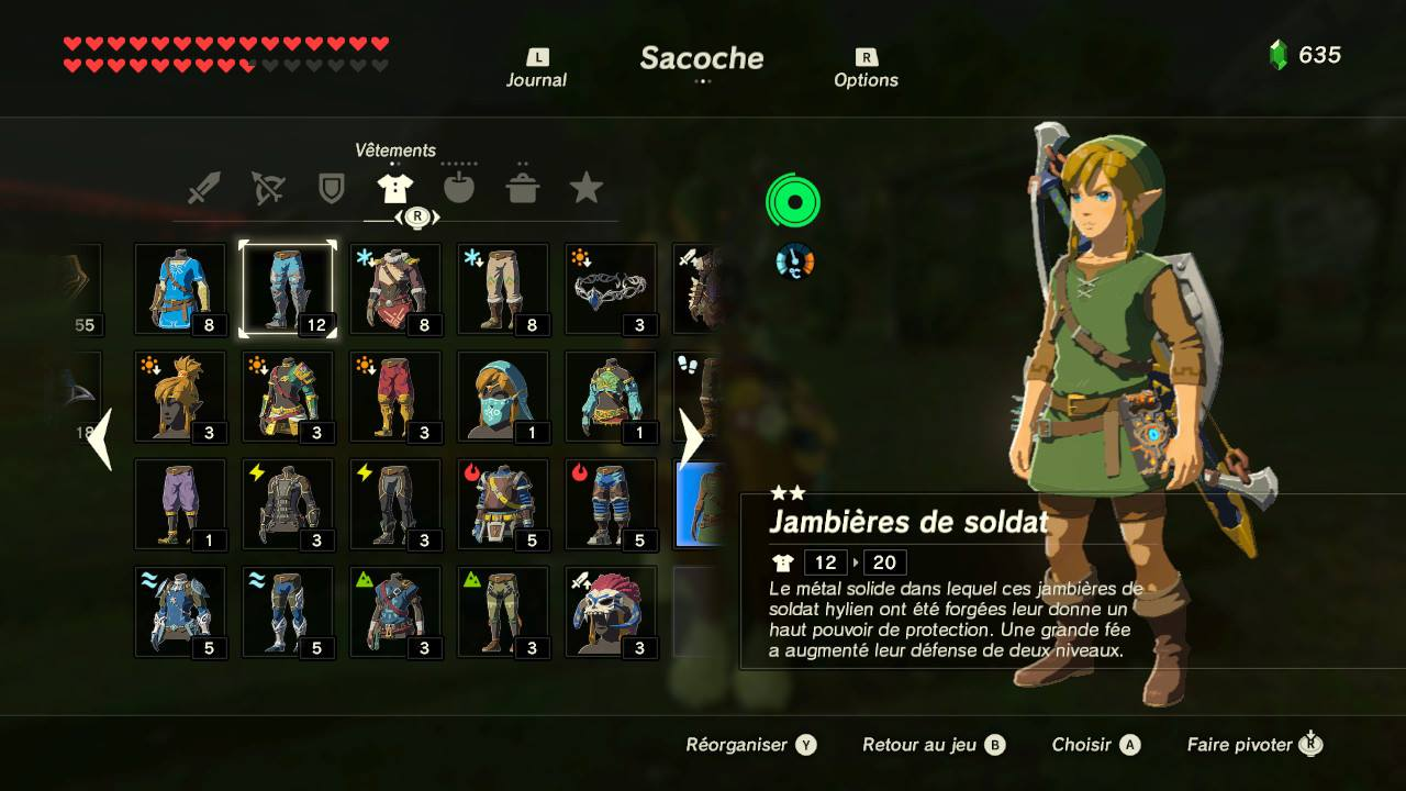the legend of zelda breath of the wild guide des quipements game guide. Black Bedroom Furniture Sets. Home Design Ideas